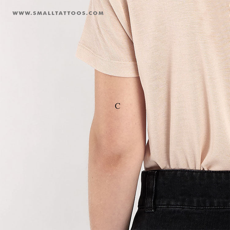 C Uppercase Serif Letter Temporary Tattoo (Set of 3)