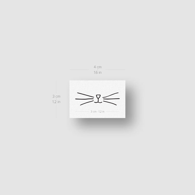 Minimalist Cat Whiskers Temporary Tattoo (Set of 3)