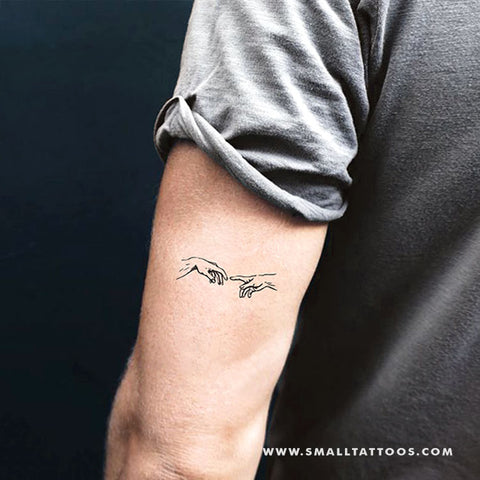 Minimalist Creation of Adam Hands Temporary Tattoo (Set of 3)