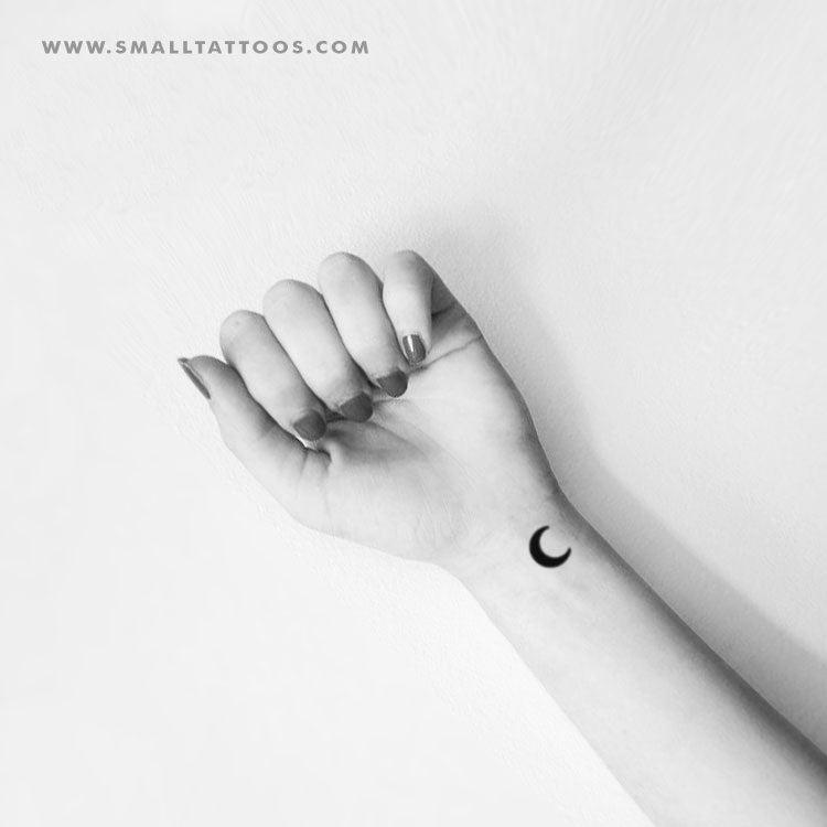 Black Crescent Moon Temporary Tattoo (Set of 3)