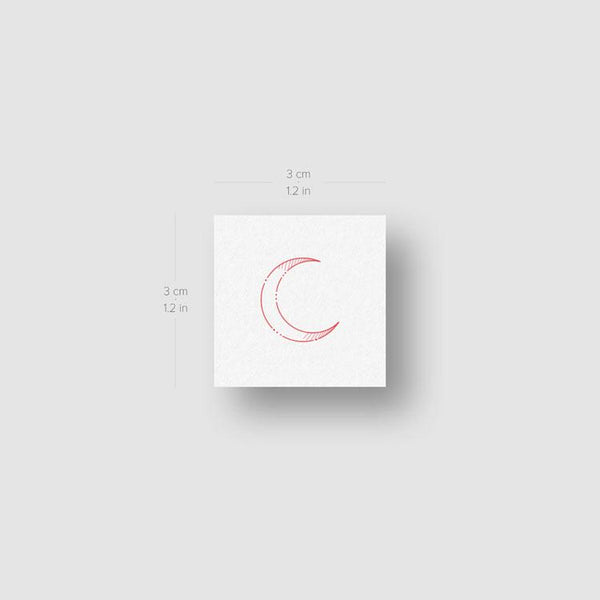 Crescent Moon Type I [Red] by Jakenowicz Temporary Tattoo - Set of 3