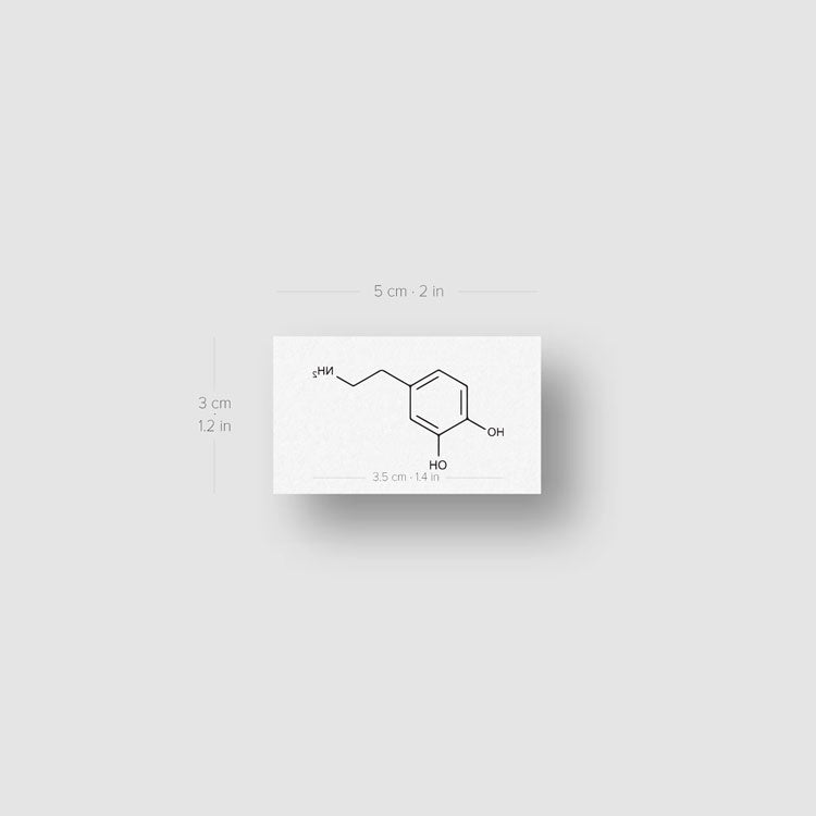 Dopamine Skeletal Formula Temporary Tattoo (Set of 3)
