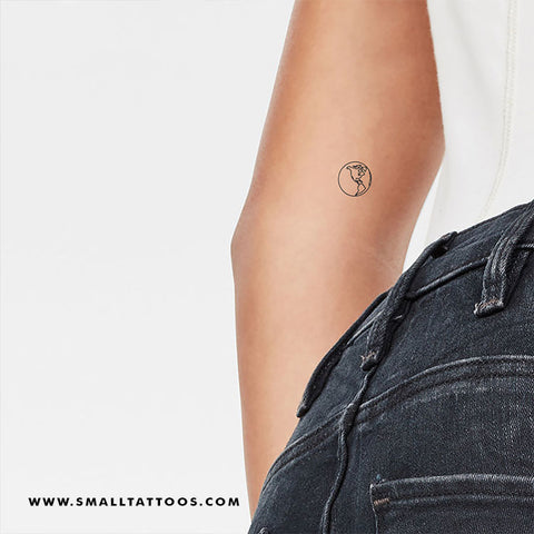 Small Planet Earth (America) Temporary Tattoo (Set of 3)
