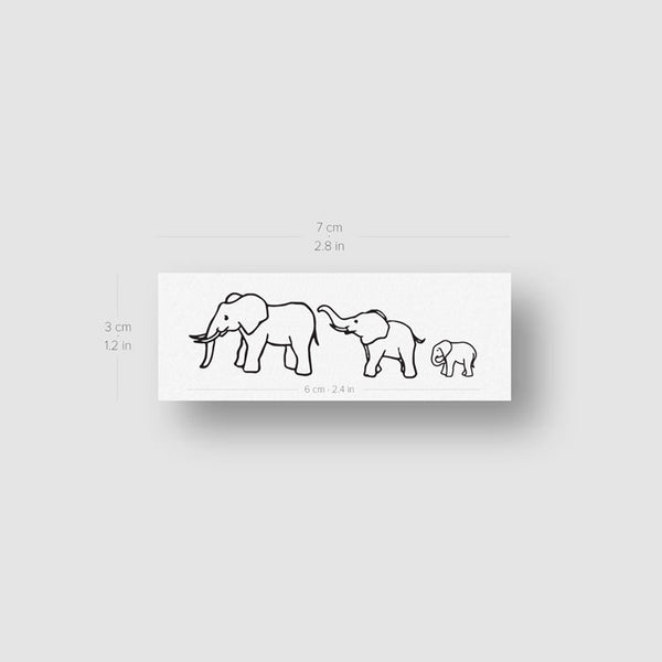 Elephant Family Temporary Tattoo (Set of 3)