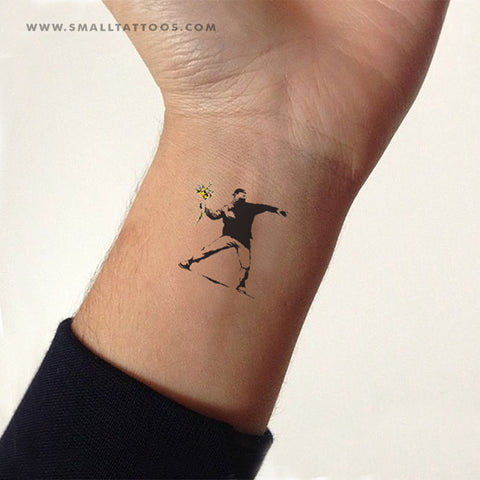 Small Banksy's Flower Thrower Temporary Tattoo (Set of 2)