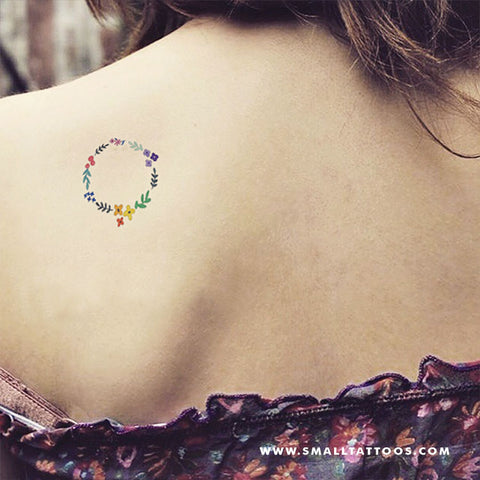 Flower Wreath Temporary Tattoo by Zihee (Set of 2)