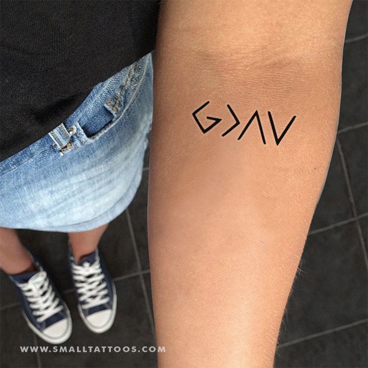 God is Greater Than My Highs and Lows Symbol Temporary Tattoo (Set of 3)