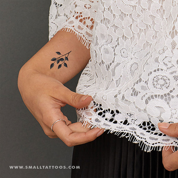 Grey Leaves Temporary Tattoo by Zihee (Set of 3)