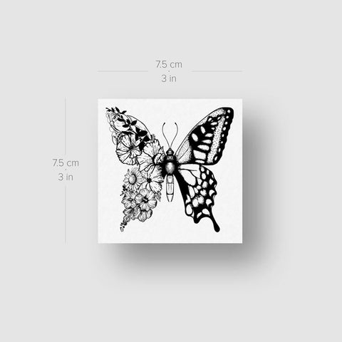 Half Floral Butterfly Temporary Tattoo (Set of 3)