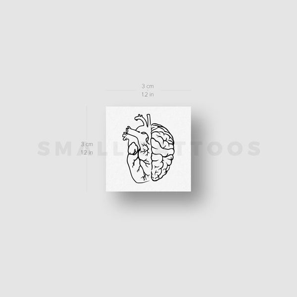 Brain & Anatomical Heart Outline Temporary Tattoo