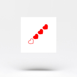 Red Loading Hearts Temporary Tattoo (Set of 3)