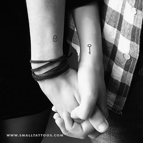 Matching Key and Lock Temporary Tattoo (Set of 2+2)