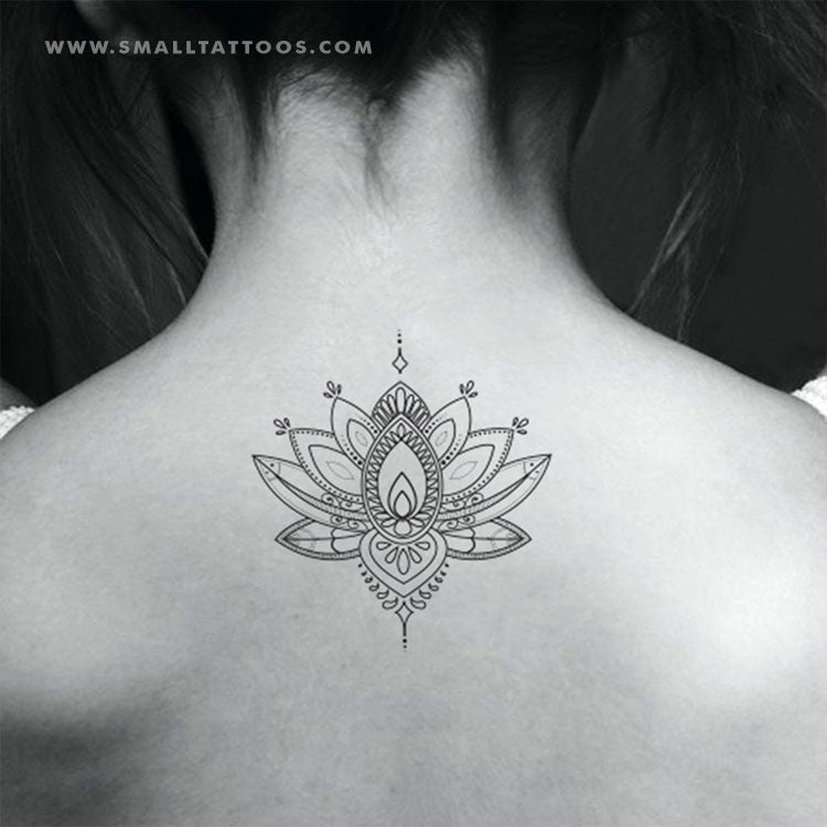 Ornamental Lotus Flower Temporary Tattoo Set Of 2 Small Tattoos