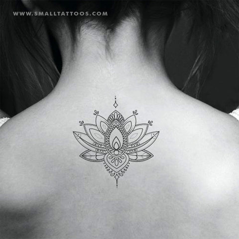 Ornamental Lotus Flower Temporary Tattoo (Set of 2)