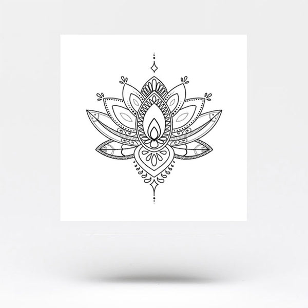 Ornamental Lotus Flower Temporary Tattoo (Set of 3)
