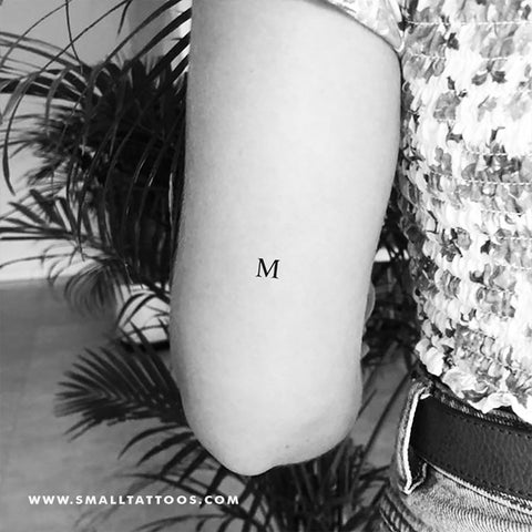 M Uppercase Serif Letter Temporary Tattoo (Set of 3)