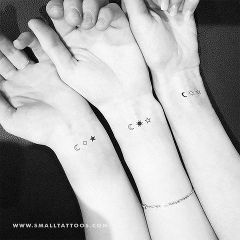 Three matching minimalist moon, sun and star temporary tattoos.