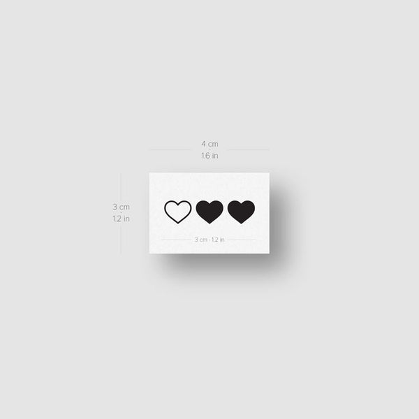 Matching Hearts Temporary Tattoo (Set of 3x2)