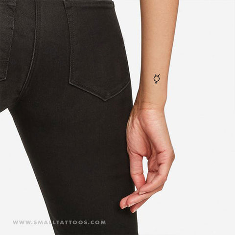 Mercury Planetary Symbol Temporary Tattoo - Set of 3