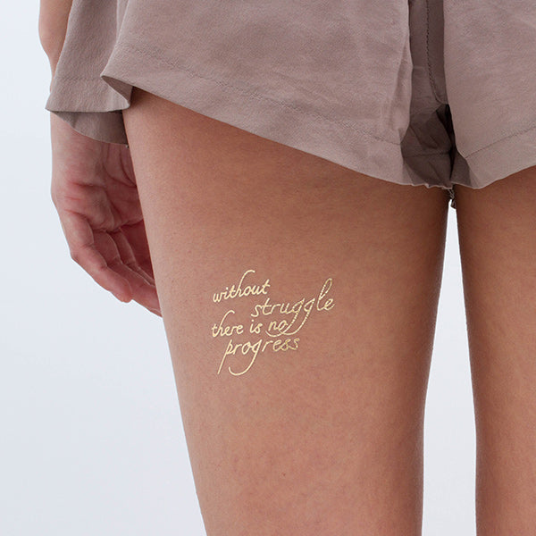 Without Struggle There Is No Progress Gold Temporary Tattoo (Set of 2)