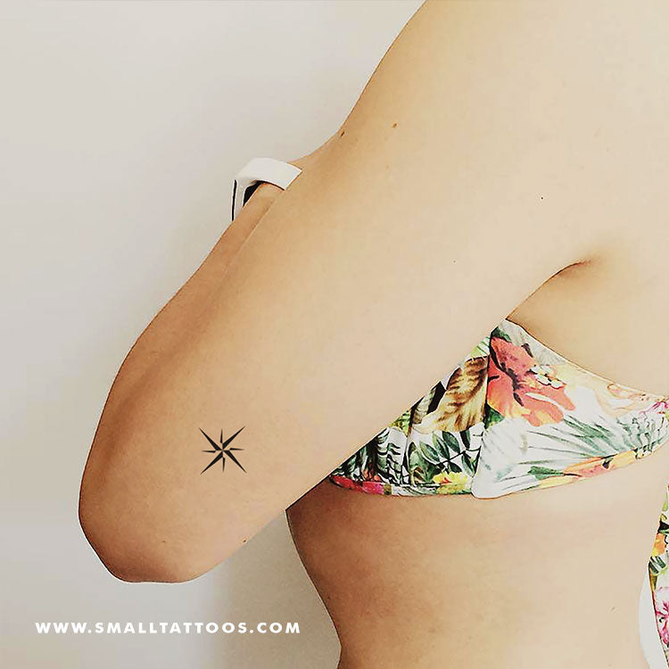 Small Minimalist Compass Temporary Tattoo (Set of 3)