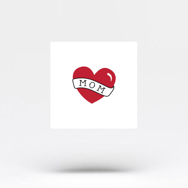 Small Heart with Mom Banner Temporary Tattoo (Set of 3)
