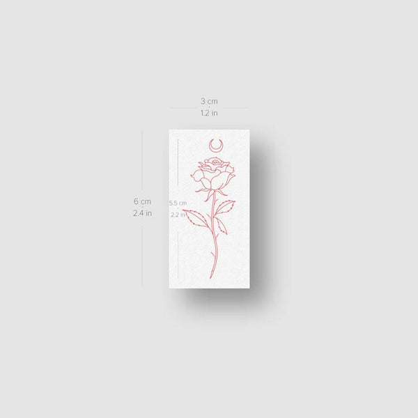 Moon Rose [Red] by Jakenowicz Temporary Tattoo - Set of 3