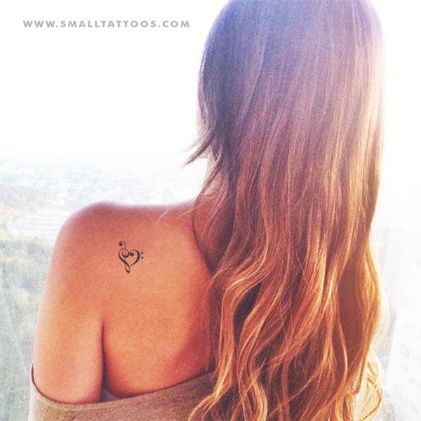 Music Heart Temporary Tattoo (Set of 3)