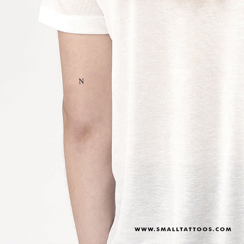 N Uppercase Serif Letter Temporary Tattoo (Set of 3)