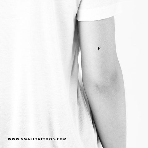 P Uppercase Serif Letter Temporary Tattoo (Set of 3)