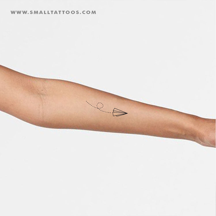Flying Paper Plane Temporary Tattoo Set Of 3 Small Tattoos