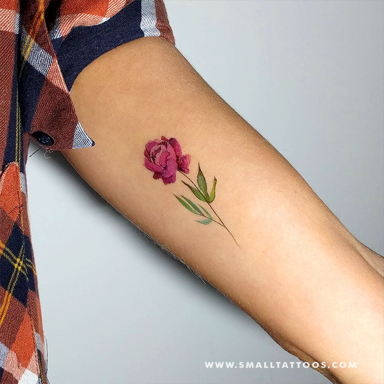 Pink Peony Temporary Tattoo By Lena Fedchenko (Set of 3)