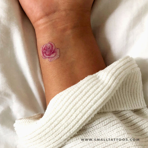 Pink Rose Head Temporary Tattoo by Mini Lau (Set of 2)