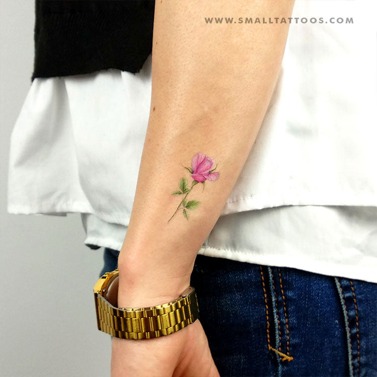 Pink Rose Temporary Tattoo by Mini Lau (Set of 3)
