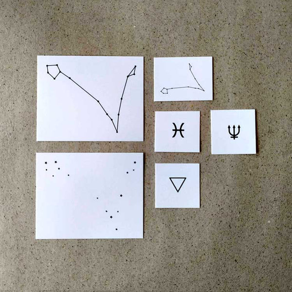 Pisces Astrology Symbols Temporary Tattoo Set