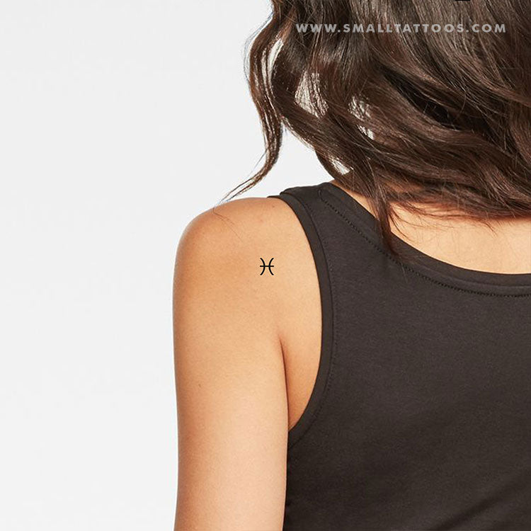 Pisces Zodiac Symbol Temporary Tattoo (Set of 4)