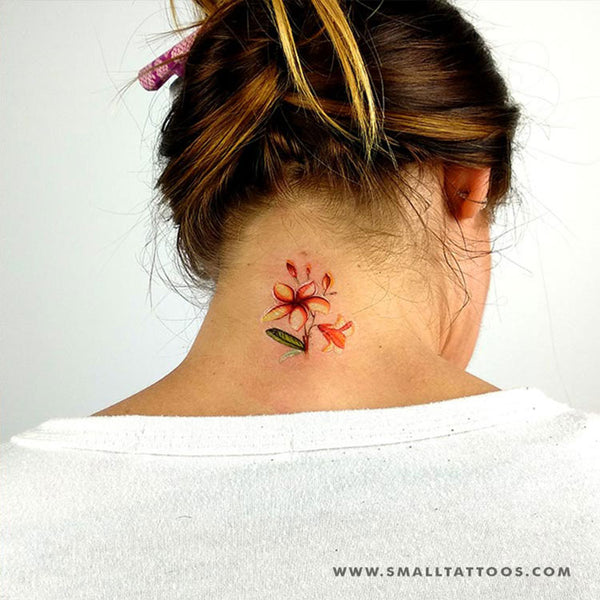 Plumeria Temporary Tattoo By Lena Fedchenko (Set of 3)