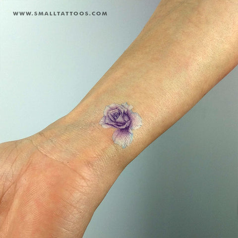 Purple Rose Head Temporary Tattoo by Mini Lau (Set of 2)