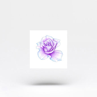 Purple Rose Head Temporary Tattoo by Mini Lau (Set of 3)
