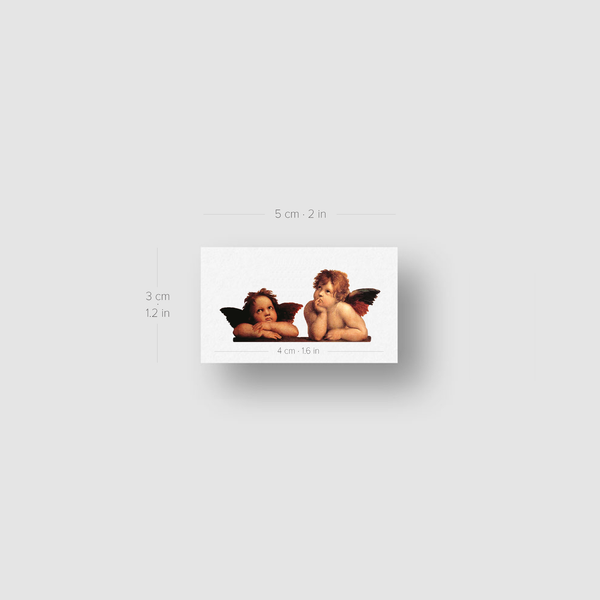 Putti Cherubs (Sistine Madonna) Temporary Tattoo (Set of 3)