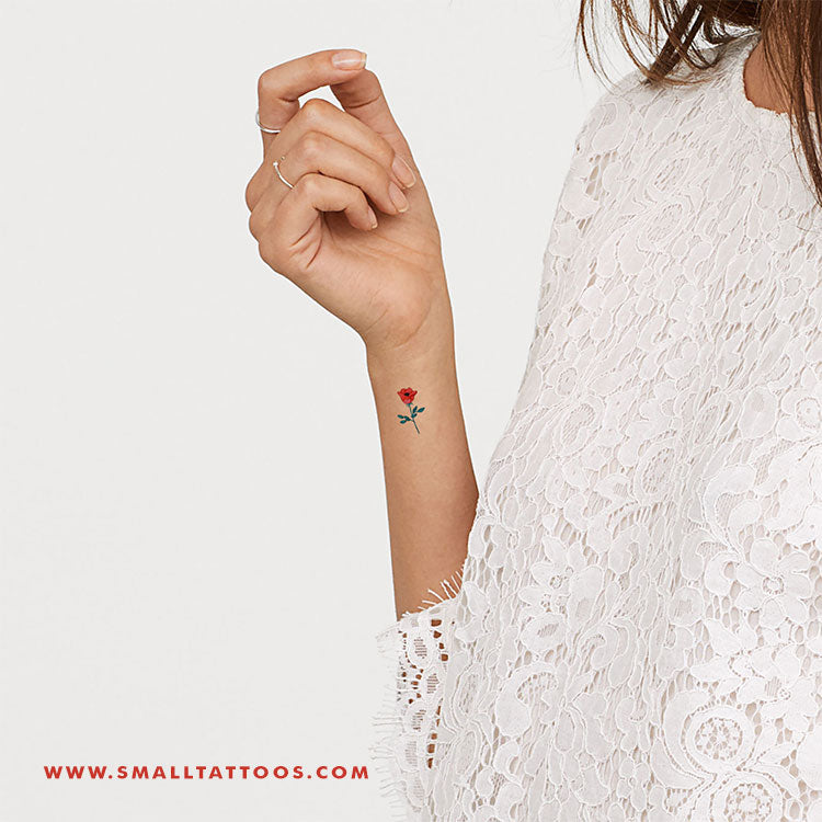 Red Flower Temporary Tattoo by Zihee (Set of 3)