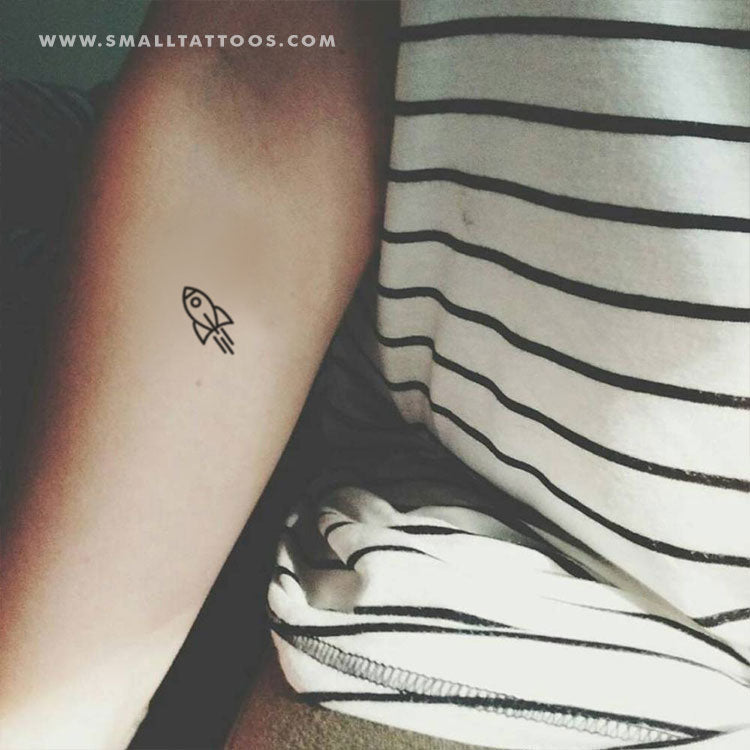 Minimalist Rocket Temporary Tattoo (Set of 3)