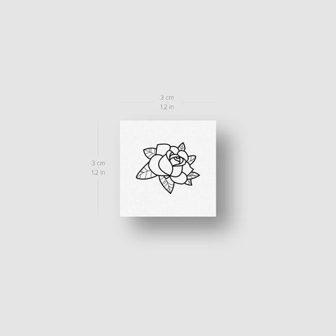 Rose Head Outline Temporary Tattoo (Set of 3)