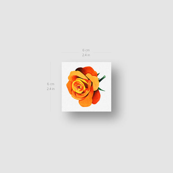 Orange Rose Head Temporary Tattoo by Zihee (Set of 3)