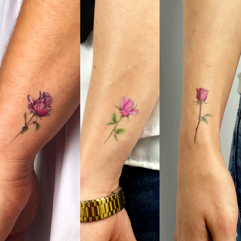 Three Roses Temporary Tattoo Set by Mini Lau (Set of 6)