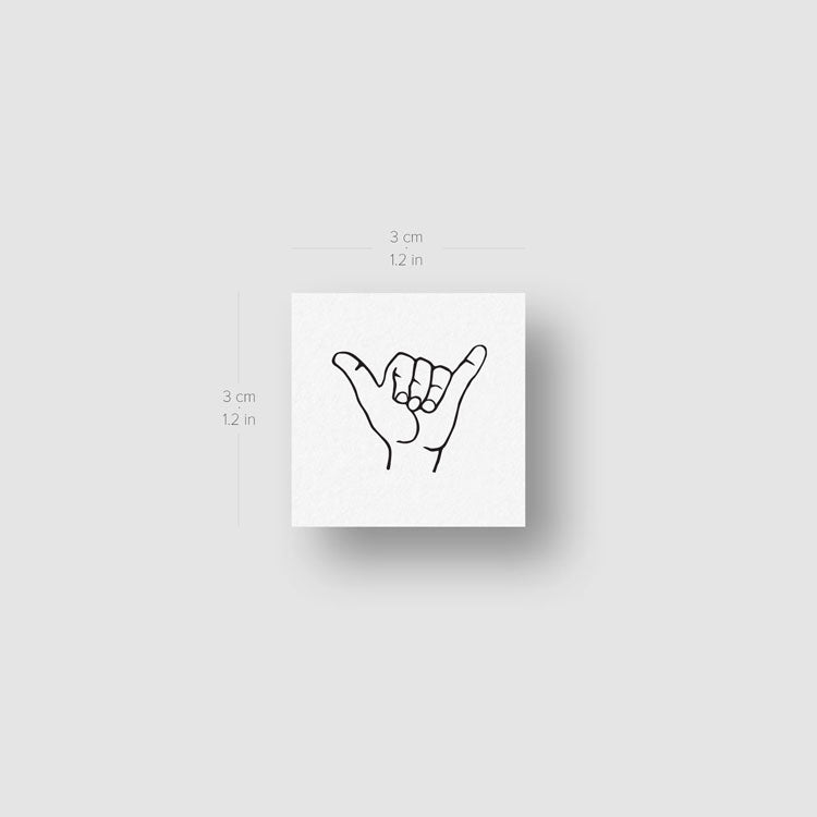 Small Shaka Sign Temporary Tattoo (Set of 3)