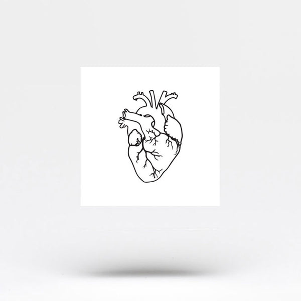 Small Anatomical Heart Temporary Tattoo (Set of 3)