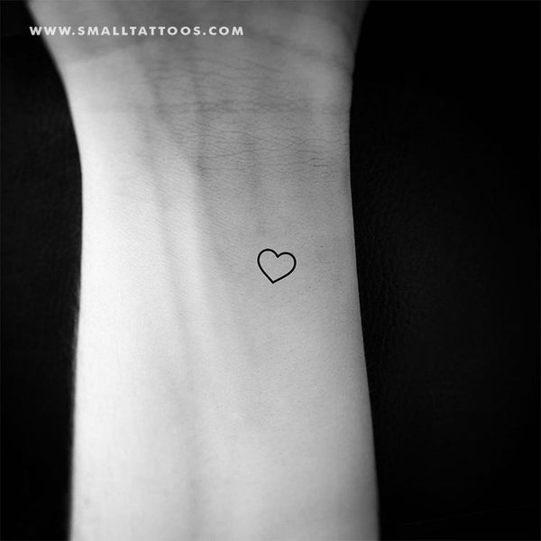 Tiny Heart Outline Temporary Tattoo (Set of 3)