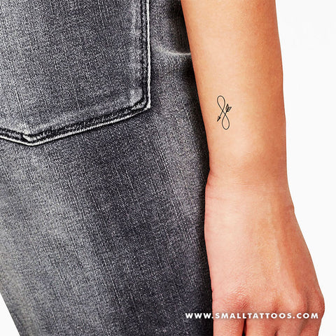 Small Infinity Arrow Temporary Tattoo (Set of 3)