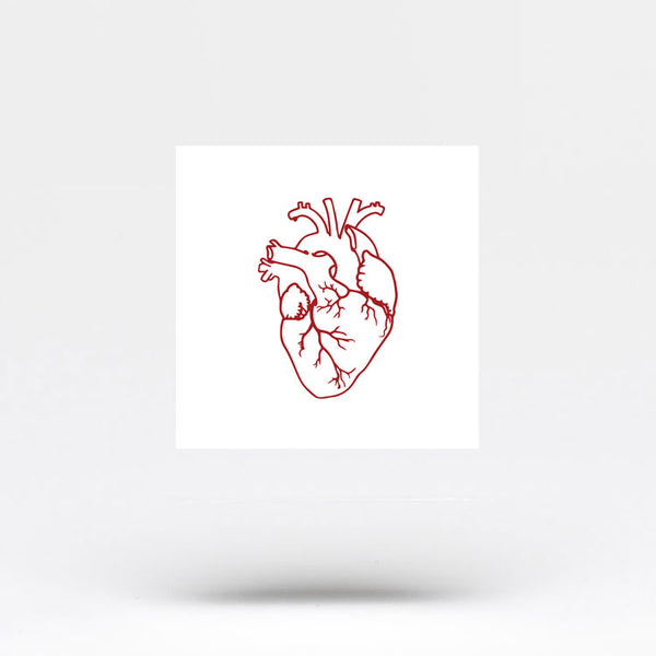 Small Red Anatomical Heart Temporary Tattoo (Set of 3)